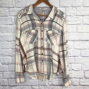 Free People Ivory Plaid Button Down